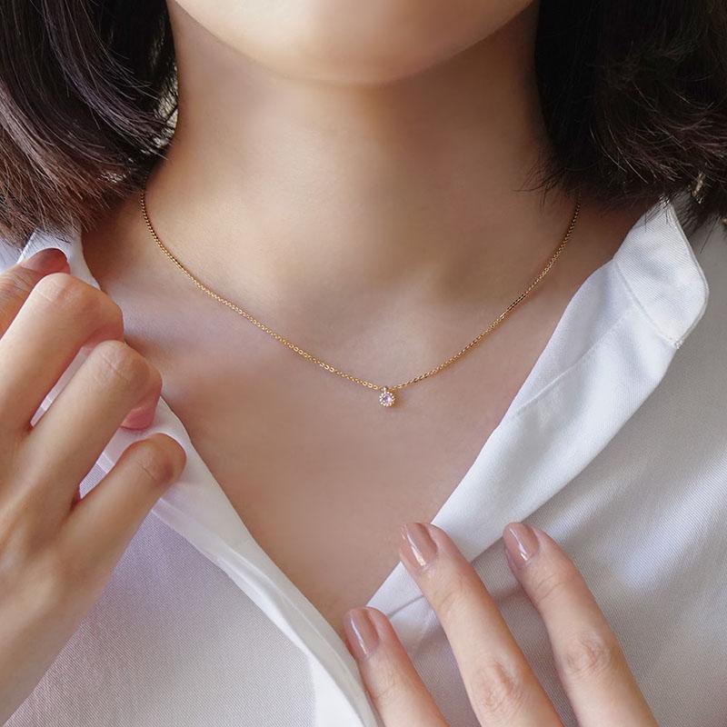 優雅單鑽 – 粉 – 項鍊