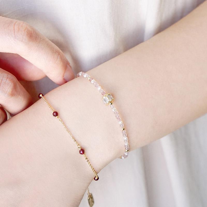 繡球花崇拜 – 草莓晶 – 手鍊