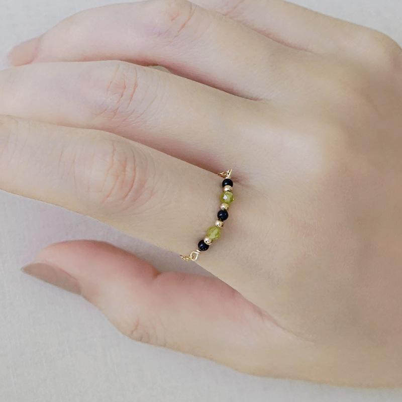寶石調節式線戒 – 橄欖石 – 戒指