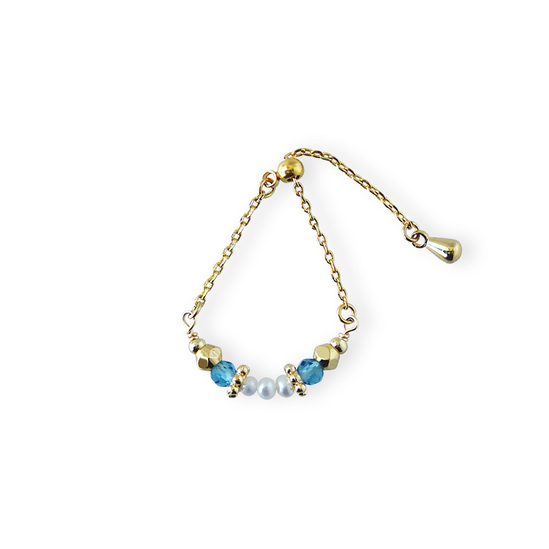 寶石調節式線戒 – 藍托帕石 – 戒指