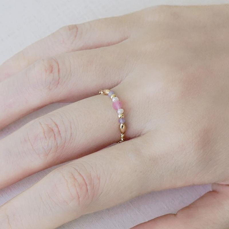 寶石調節式線戒 – 粉碧璽 – 戒指